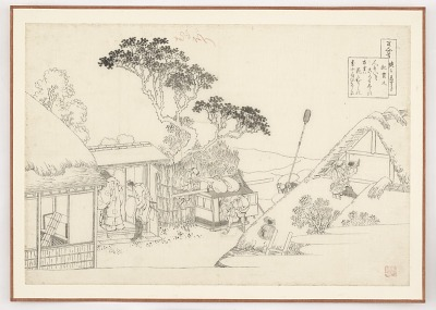 Preparatory drawing for Ki no Tsurayuki from the series One Hundred Poems Explained by the Nurse (Hyakunin isshu uba ga etoki)