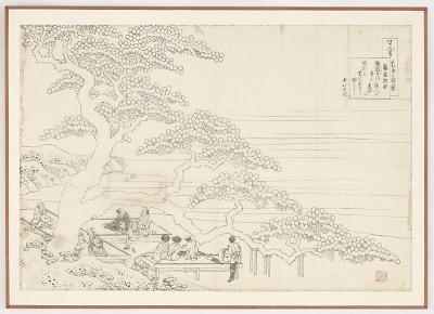 Preparatory drawing for a print in the series <em>Hyakunin isshu uba ge etoki</em>: Fujiwara no Okikaze