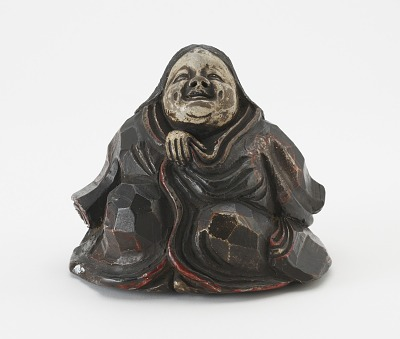 Kyoto ware seated figure of Otafuku