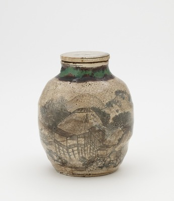 Tea-leaf jar for sencha, with matching lid, Kyoto-related ware