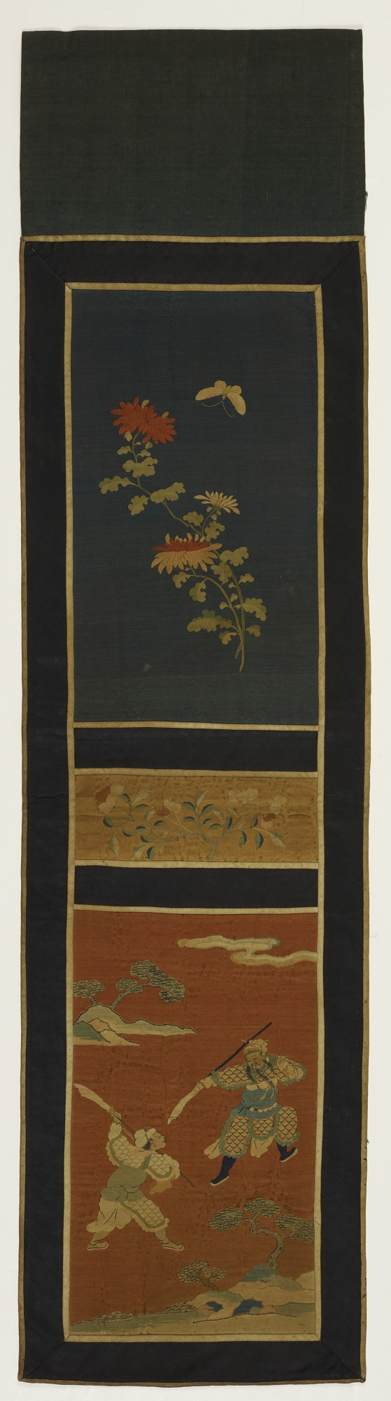 Panel with narrative scene, flowers and butterfly for a screen