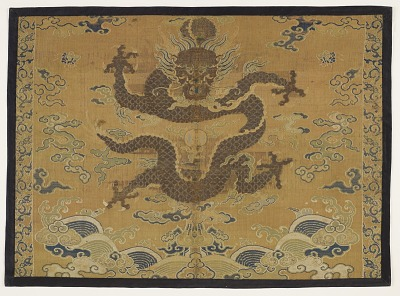 Section of a chair cover with a dragon, pearl, waves, and clouds