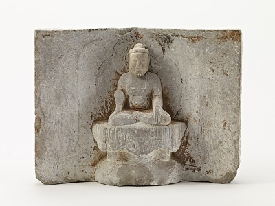 Seated Buddha (<em>Shakyamuni</em>) with two disciples