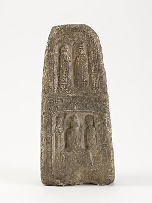 Seated Buddhas, bodisattva (<em>Samantabhadra</em>) with elephant, and other figures