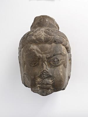 Head of a Vajrapani (thunderbolt bear), fragment