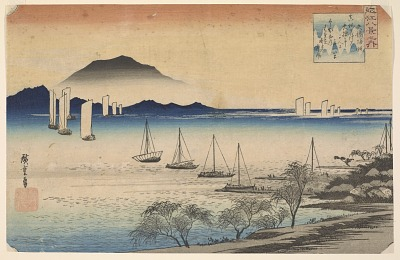 Boats returning to Yabase, from the series <em>Eight Views of Omi Province</em>