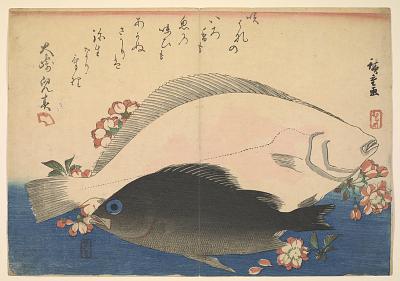 Olive Halibut (<em>Hirame</em>) and Black Rockfish (<em>Mebaru</em>) with Cherry Blossoms, with inscription