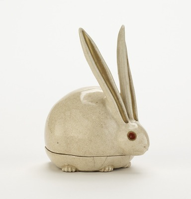 Kyoto ware incense box in shape of crouching rabbit