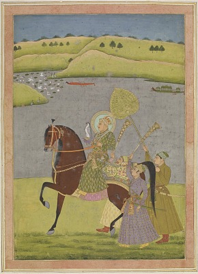 Equestrian portrait of Muhammad Shah from the Impey Album