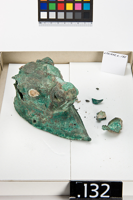 Bull's head on teardrop-shaped plaque with loop (for suspension?)