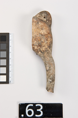 Hind quarter of a quadraped with incised and painted markings, fragment