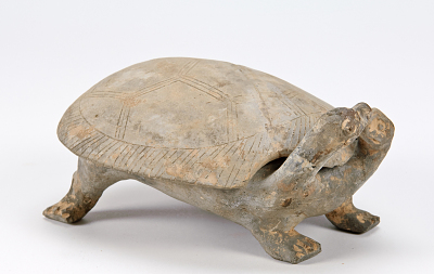 Two-headed turtle with removable shell (inkstone)