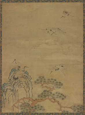 Tapestry with cranes, rocks, pines, and clouds