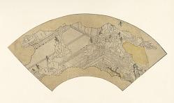 Sketch for a fan with a scene from The Tale of Shuten Doji
