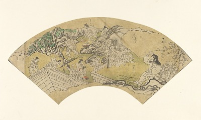 Sketch for a fan with a scene from <em>The Tale of Shuten Doji</em>