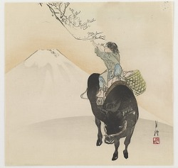 Boy On An Ox, Picking The First Spring Blossom,