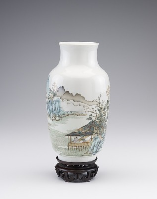 Vase with landscape and poem