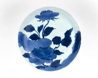 Dish with design of peonies and rock