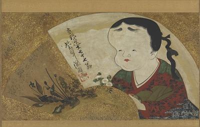 Uzume (Okame) and flowers