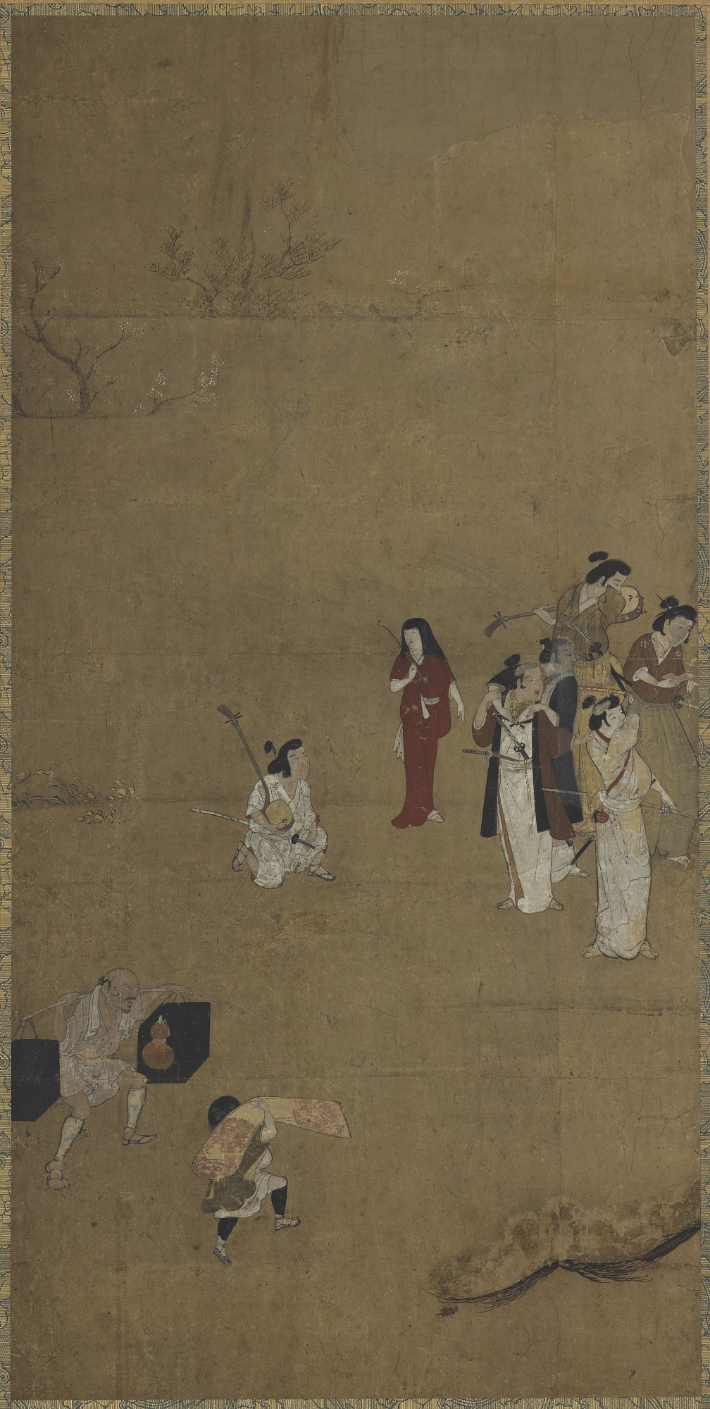 A picnic party: musicians and attendants