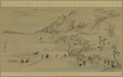 Pilgrims going to Hase-dera in the springtime
