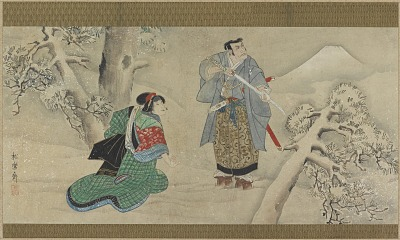 A Scene from <em>The Tale of the Brothers Soga</em>; man and woman in snowy landscape