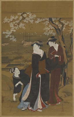 Sea-shore: three girls under a flowering cherry tree