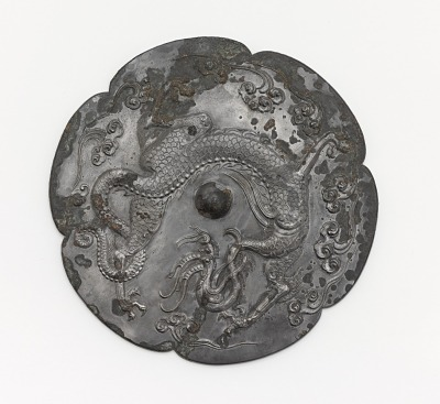 Lobed mirror with a dragon and clouds