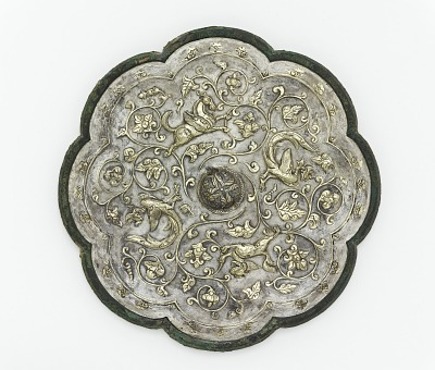 Lobed mirror with birds, animals, and floral scrolls