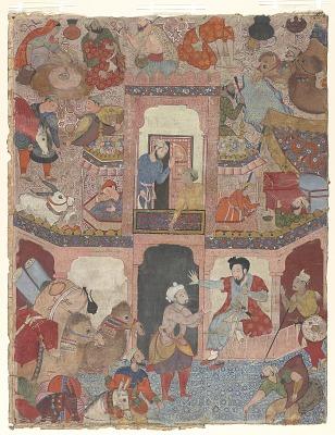 Baba Junayd Is Rude to Umar and Turns Him Away from the Caravanserai, from a Hamzanama