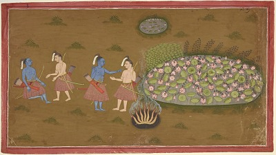 Rama and Lakshmana by lotus pool during their exile, from a copy of the Ramayana