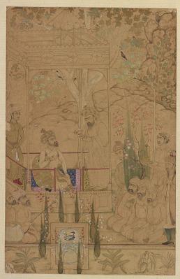 Emperor Babur with Attendants in a Garden
