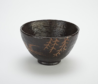 Tea bowl with design of swallow and willow, unknown Raku ware workshop