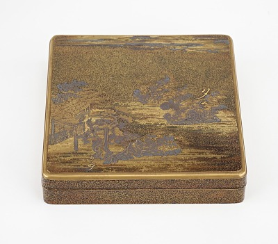 Inkstone box decorated with landscape with poem-picture