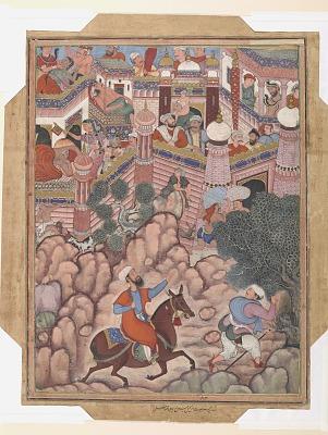 <em>Umar Disguised as the Surgeon Mazmahil, Arrives before the Castle of Antali</em> from a <em>Hamzanama</em>
