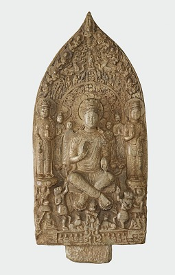 Stele with Bodhisattva Maitreya (Mile); reverse with Buddha Vairochana (Pilushena)