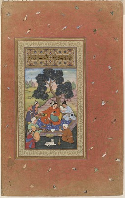 Mongol Chieftain and Attendants, folio from the <em>Gulshan Album</em> (Rose Garden album)