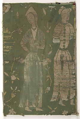 <em>Lampas</em> fragment depicting two standing figures and flowers on a green ground