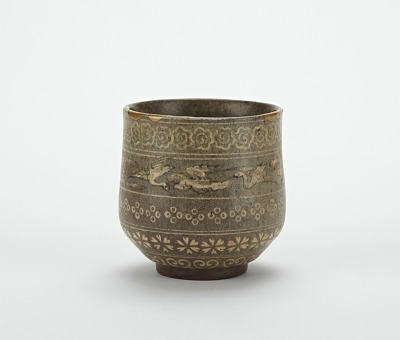 Yatsushiro ware tea cup with Korean-style decoration