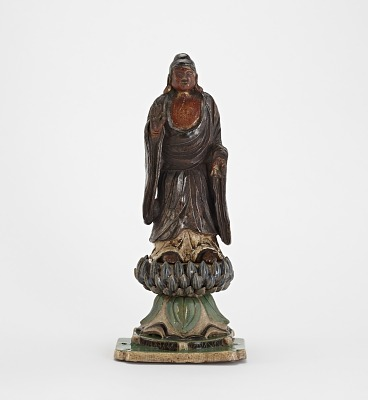Otowa ware standing Amida Nyorai with inscribed pedestal