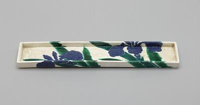 Rectangular dish with design of iris