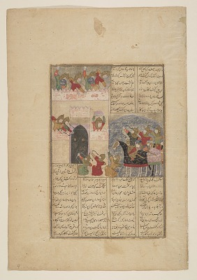 Folio from a <em>Shahnama</em> (Book of kings) by Firdawsi (d.1020); recto: The siege of Turanian stronghold by the forces of Kay Khusraw; verso: text, Afrasiyab escapes from the ruined stronghold