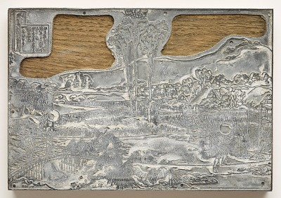 Metal-cut of Print No. 1 in reduced scale after Drawing No. 1 by Hokusai