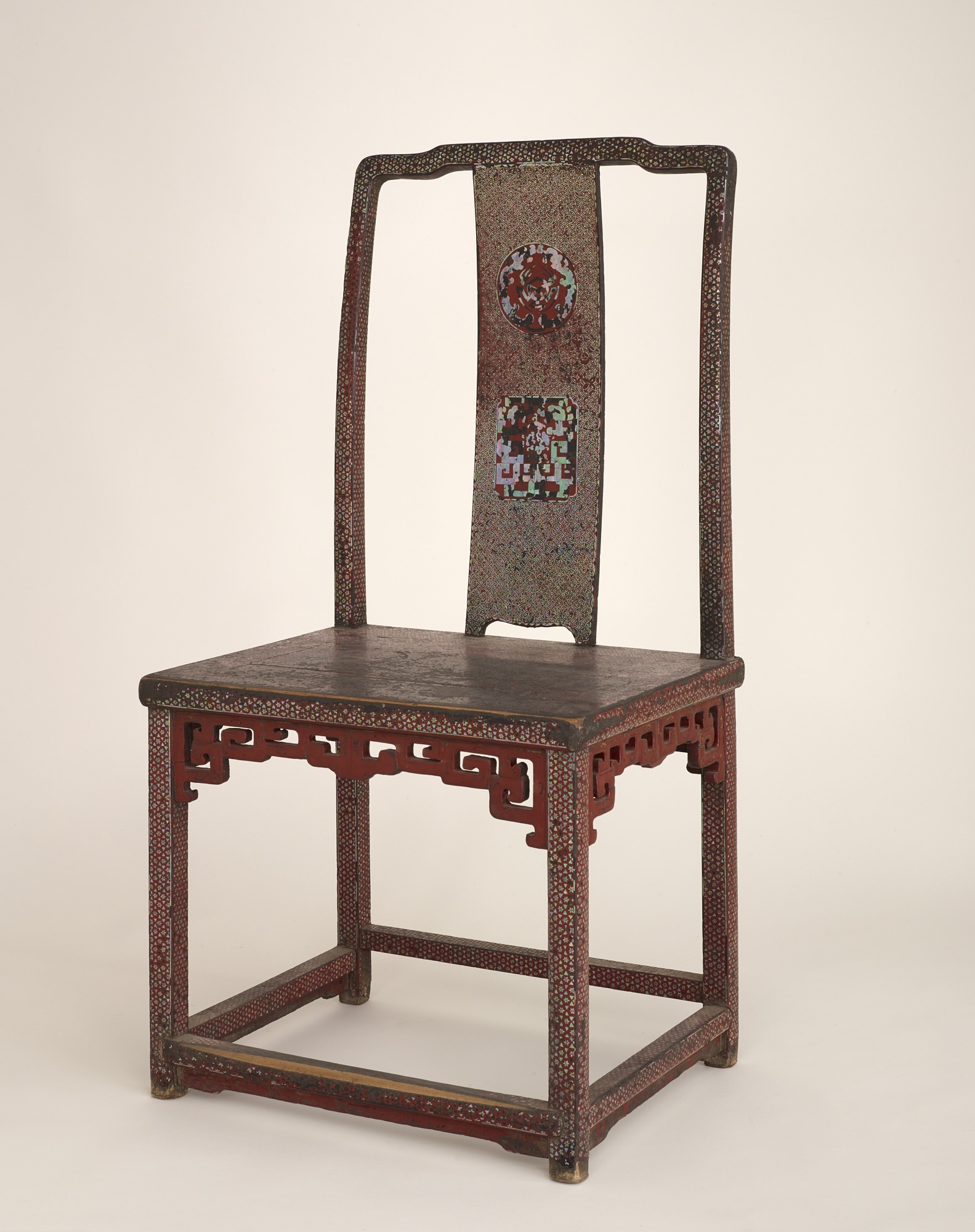 images for Chair. Wood, covered with red lacquer and inlaid with mother-of-pearl