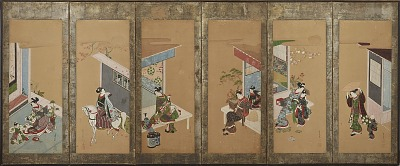 Six representations of yujo, their attendants, their houses, etc