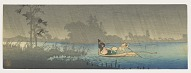 Landscape with figures in a boat
