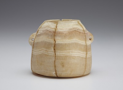 Beehive-shaped jar with two pierced lug handles, re-assembled from fragments
