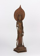 Figure of Avalokiteshvara (Japanese: Kwannon), after statue in Horyuji Temple. Reduced copy