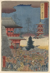Asakusa Market, Edo from the series Famous Places in the Sixty-odd Provinces