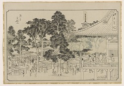 Drawing (hanshita-e) for Asakusa Kinryuzan, from the series, Famous places of Edo